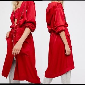 Free People Silky Red Robe Like Trench Coat